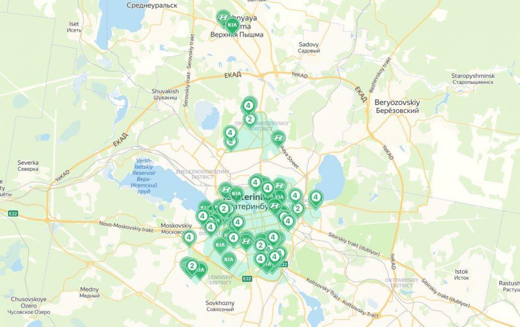 Зона завершения аренды YouDrive в Екатеринбурге